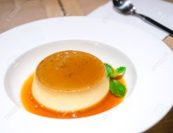 Sweet dessert, caramel custard with syrup